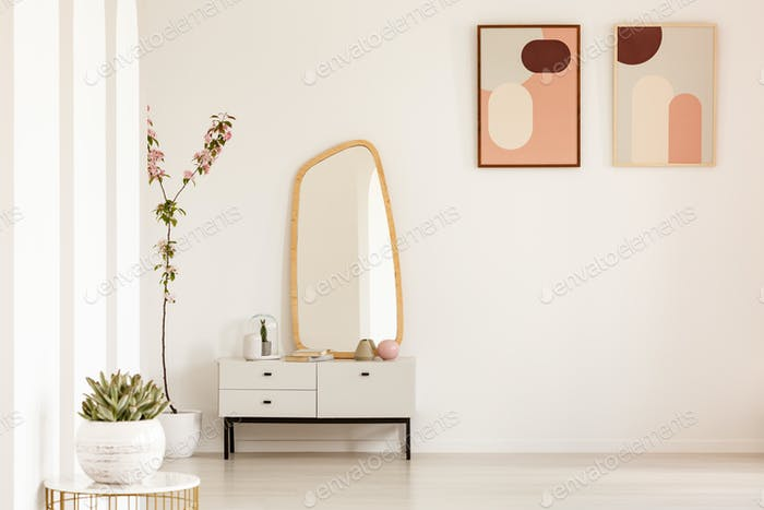 Plant on table and mirror on white cabinet in simple living room