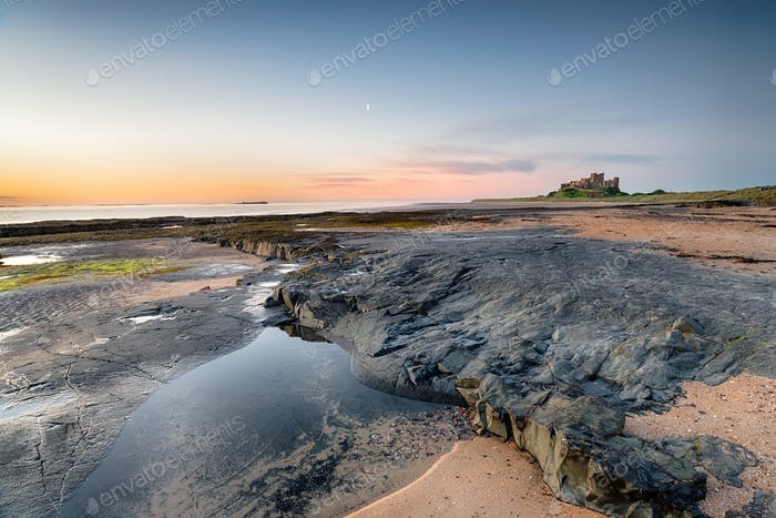 The Beach at Bamburgh Castle