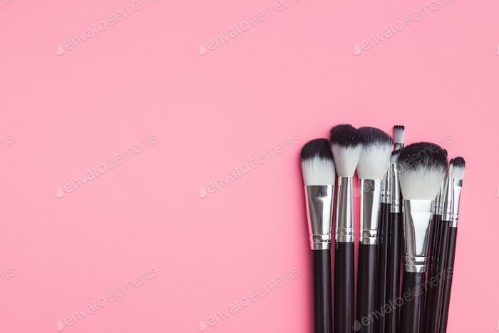 Set of makeup brushes .