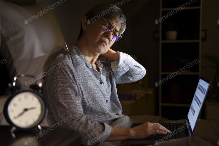Senior woman with sore and muscle pain