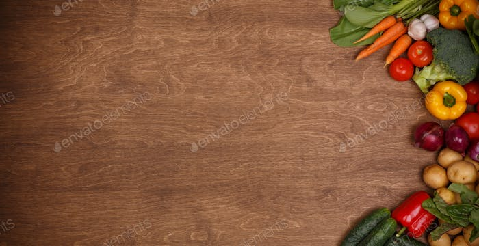 Vegetable on Wooden Texture Background