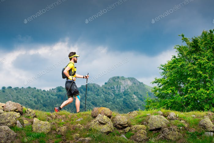 Male athlete practice nordic walking