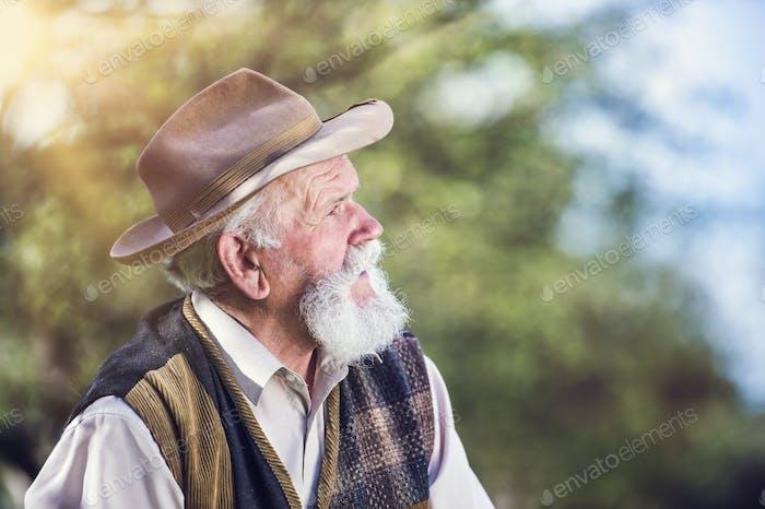 Farmer outside in nature