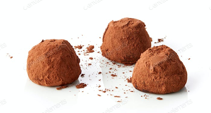 chocolate truffles covered with cocoa
