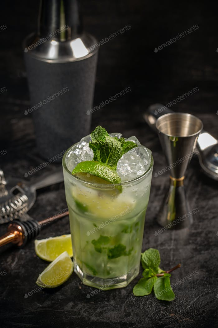 Mojito cocktail in glass