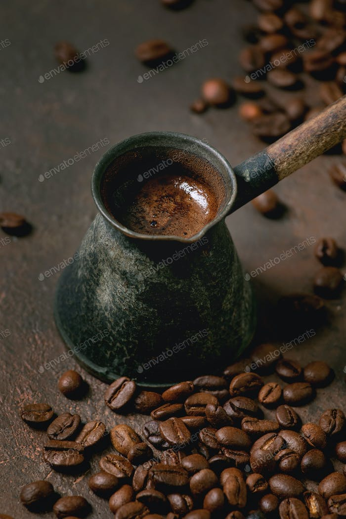 Black coffee in vintage cezve
