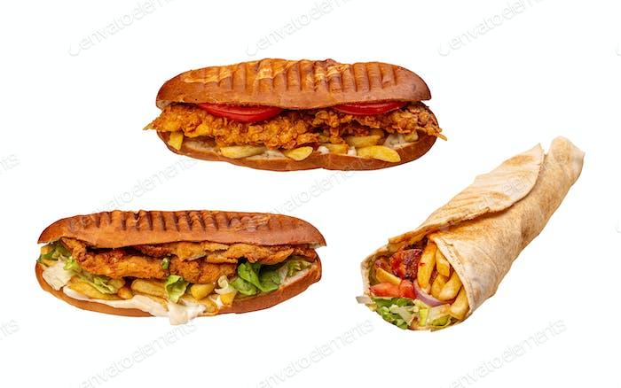 Set of pannini sandwiches