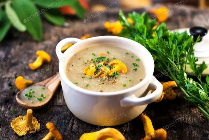 Delicious creamy mushroom  soup with chanterelle