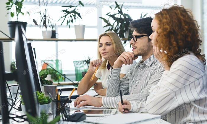Business people group working to find solution of problem