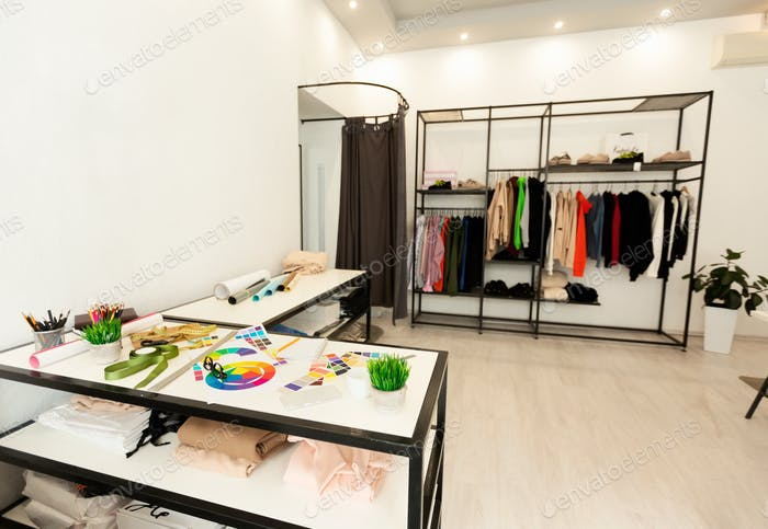 Clothing Designer Workplace In Fashion Studio, Background
