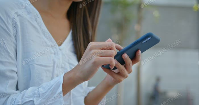 Close up of woman use of smart phone
