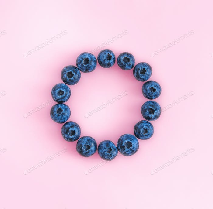 Blueberry on pink background with empty circle