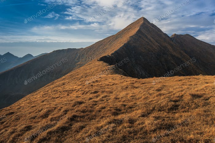 The Moldoveanu Peak in Fagaras Mountains, Romania