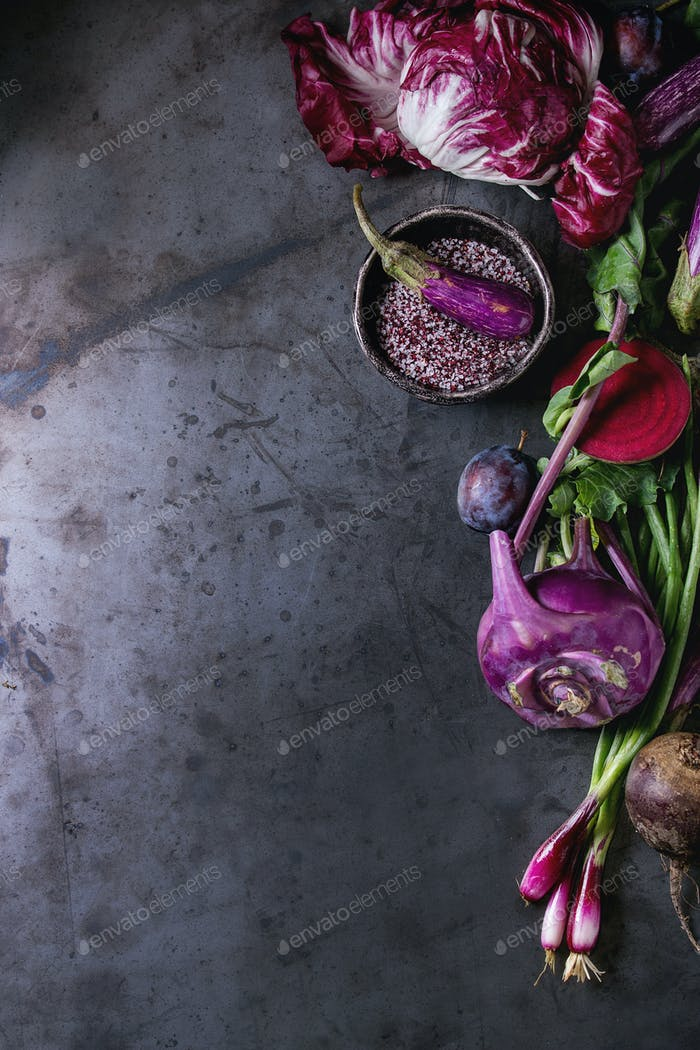 Assortment of purple vegetables