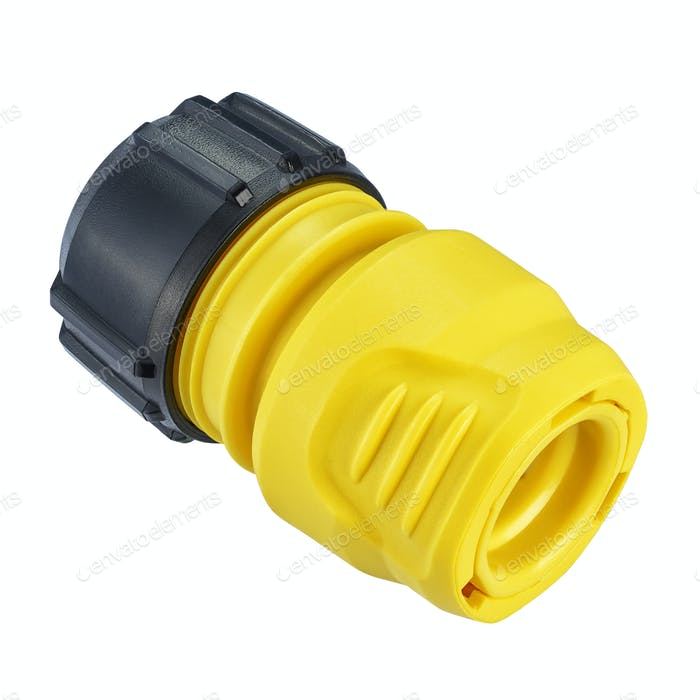 Yellow quick connect hose fitting isolated