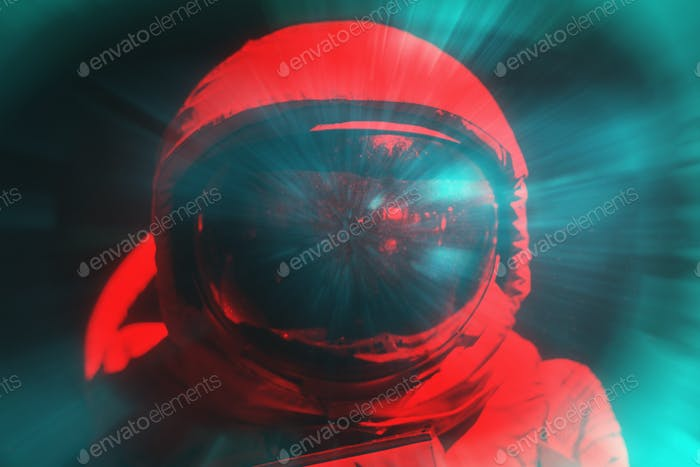 Astronaut fitted with spacesuit negative photo effect
