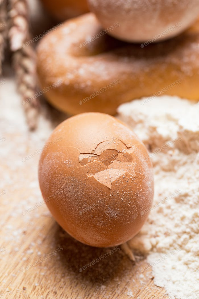 Cooking, close-up. Bunch of eggs in the flour