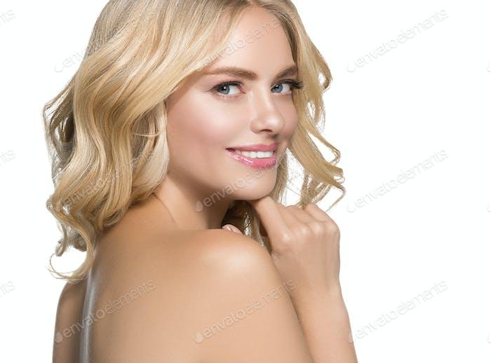 Teeth smile woman long blonde hair healthy skin