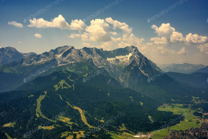 Highest mountain peak Zugspitze and Alpspix with Garmisch Partenkirchen, Bavaria, Germany.