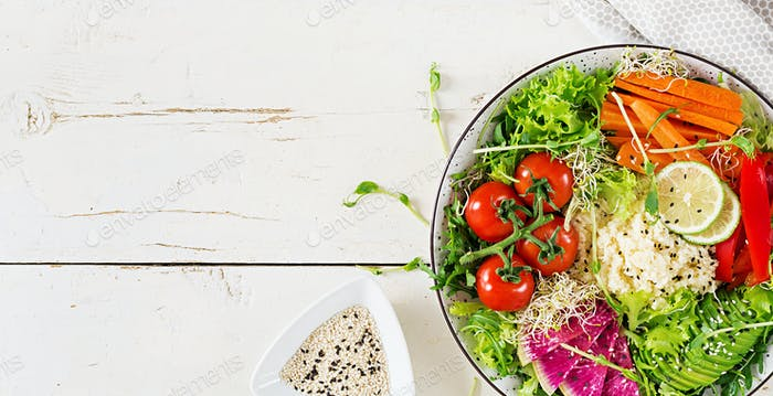 Couscous and vegetables bowl.  Trend food.