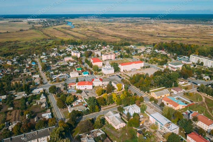 Chachersk, Gomel Region, Belarus. Aerial View Of Skyline Cityscape. Old City Hall. Town Hall