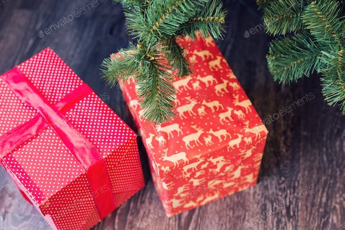 Gift boxes under a Christmas tree