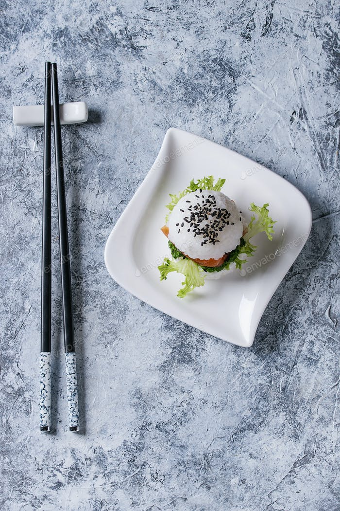 Rice sushi burger