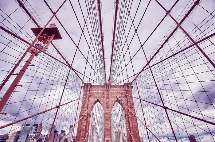 Vintage toned picture of the Brooklyn Bridge, New York.