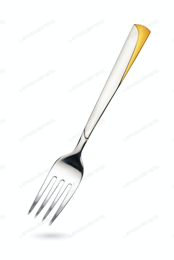Empty steel dinner fork isolated on white background