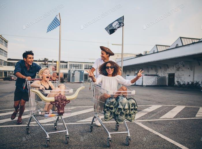 Shopping cart race in parking lot