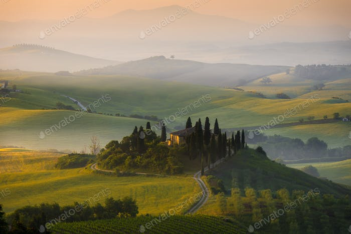 House in Tuscany in the early morning