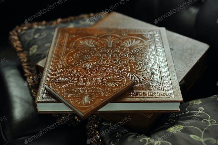 braunes Hochzeitsfotobuchalbum aus Leder