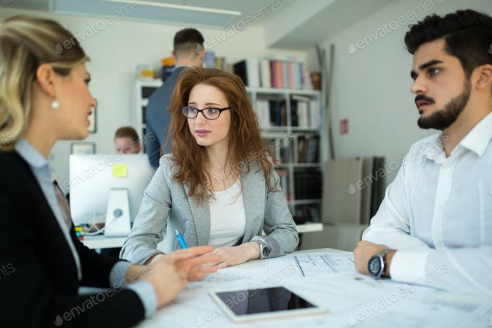 Business colleagues collaborating and discussing project plans