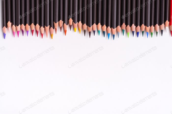 Painting multicolored border from colorful pencils for art creativity on a white background. Flat