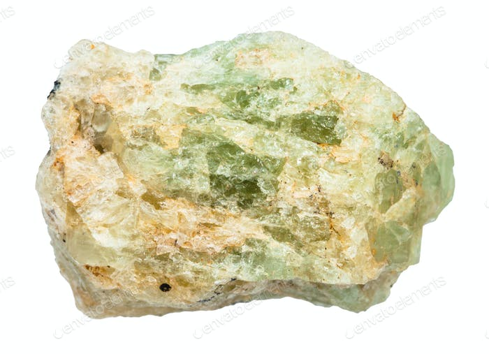 rough chrysoberyl (green beryl) crystal isolated