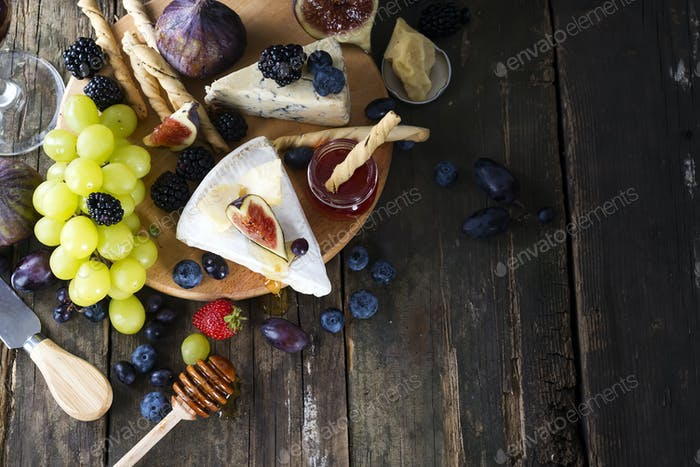 Appetizers table concept for mediterranean lunch oder dinner. Italian food. Overhead view. Copy