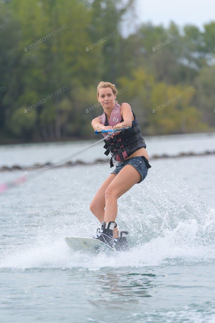 Woman water skiiing