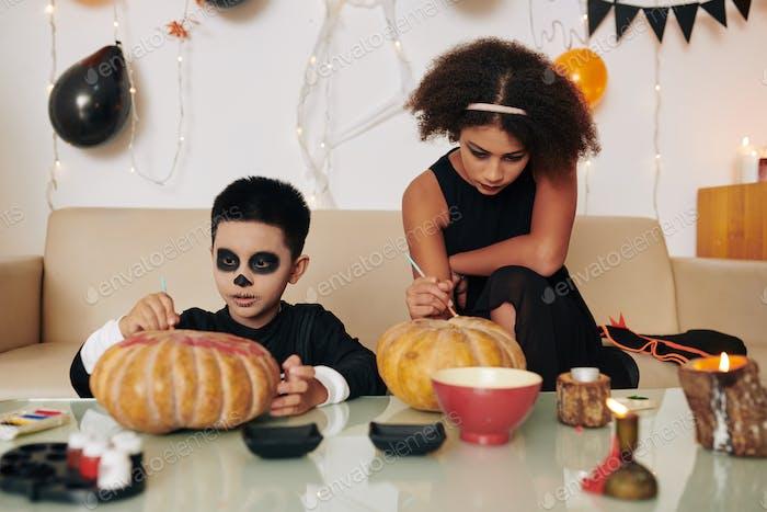 Decorating carved pumpkins