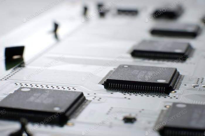 Close up shot memory board with SMD chip