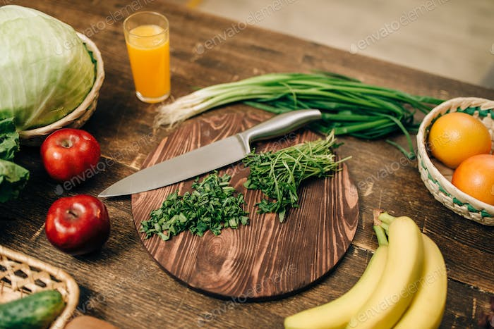 Fruits and vegetables on wooden table, eco product