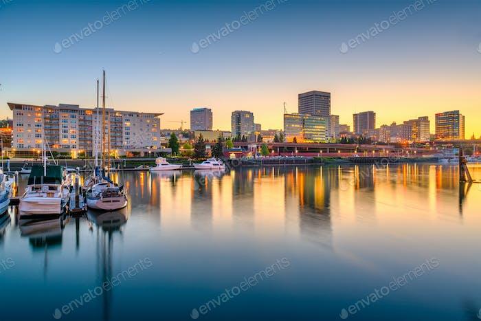 Tacoma, Washington, USA downtown skyline at dusk