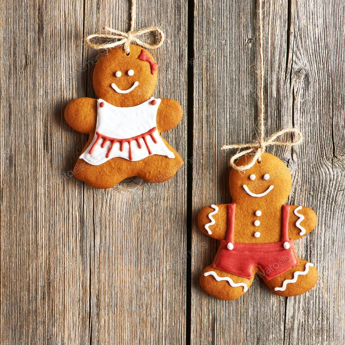 Thumbnail for Christmas homemade gingerbread couple cookies