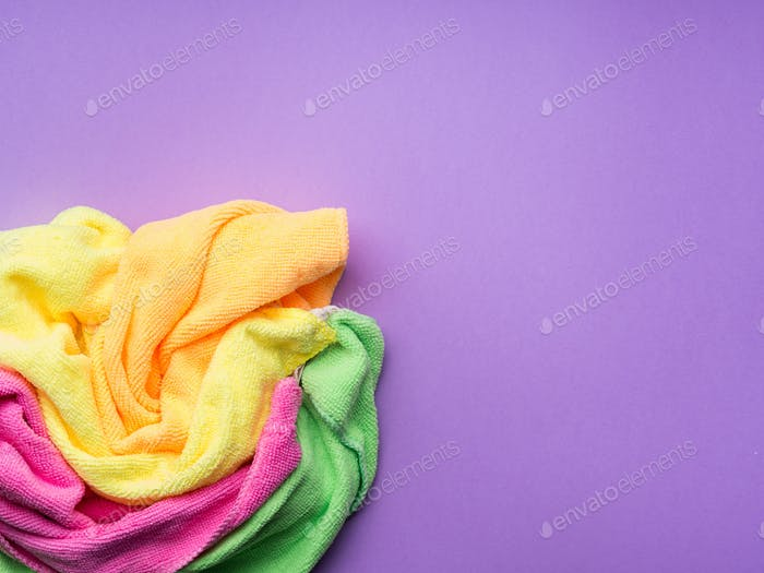 Background with microfiber cleaning cloths