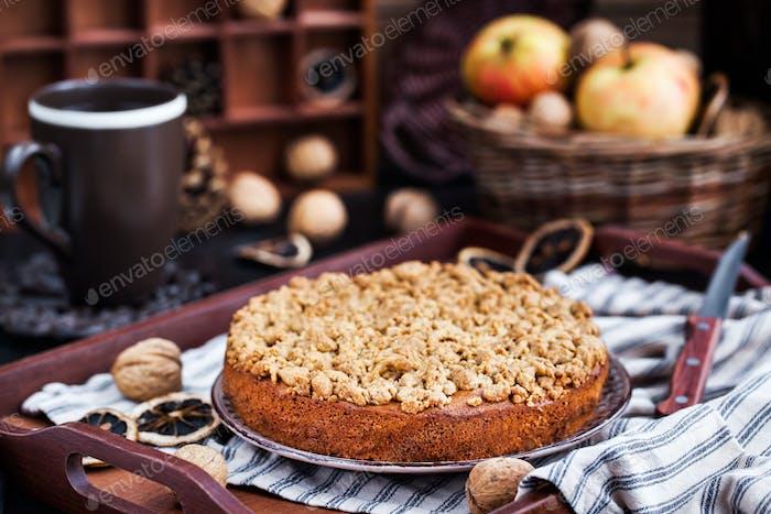 Homemade apple cinnamon crumb coffee cake