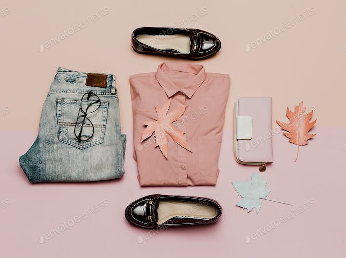 clothes top view. For woman. Stylish casual look and accessories