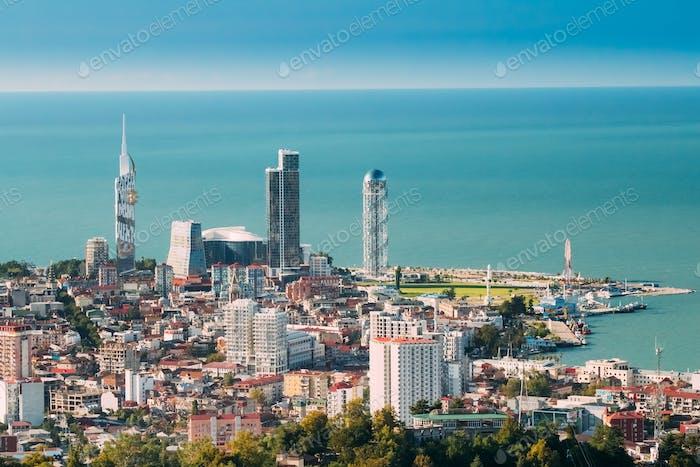 Batumi, Adjara, Georgia. Aerial View Of Urban Cityscape At Sunse