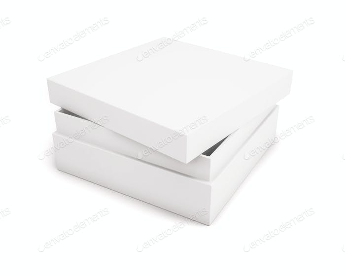 Slightly ajar blank white box on a white background for your des