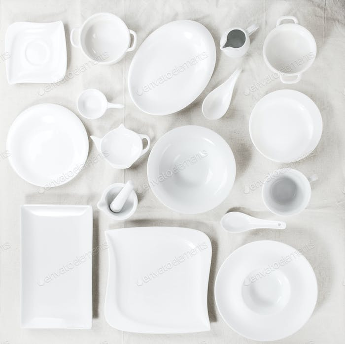 Set of white plates