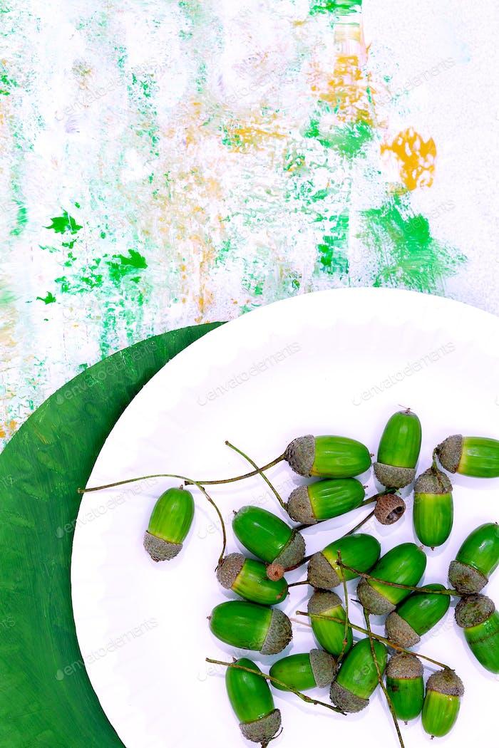 Acorn on design painted background. Minimal art. Autumn eco bio life concept
