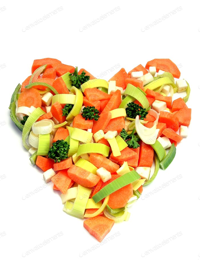 Fresh Vegetables Heart Shape